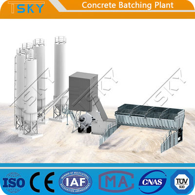 Skip Hopper Feeding HZS50 Concrete Batching Plant