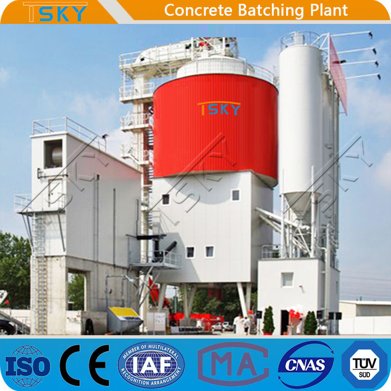 High Aggregate Storage Silo Feeding HLS240 Tower Batching Plant