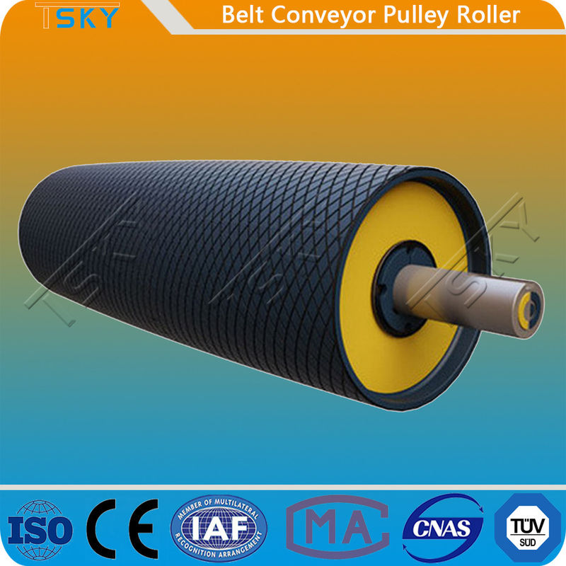 Heavy Duty Belt Conveyor Motorized Driving Pulley Drum With Rubber Lagging DIN, AFNOR, FEM, BS, JIS, SANS, CEMA